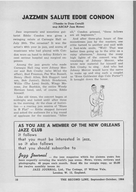 New Orleans Jazz Club Second Line Archive Vol 15 Num 09
